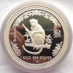 Australia 2004 Year of Monkey 30 Dollars 1Kilo Silver Coin, Proof, Rare