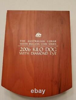 Australia 2006 Silver Kilo $30 Dog with Diamond Eye + Original Box 0nly 504 made