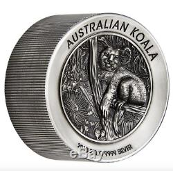 Australian Koala 2018 2 Kilo Silver High Relief Antiqued Coin Sold Out COA #45