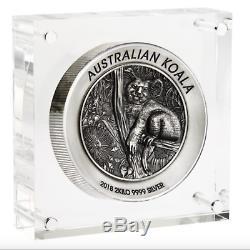 Australian Koala 2018 2 Kilo Silver High Relief Antiqued Coin Sold Out COA #52