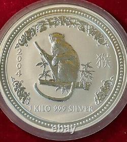 Australian Lunar Series 1 2004 Year of Monkey 30 Dollar 1 Kilo Silver Coin Unc