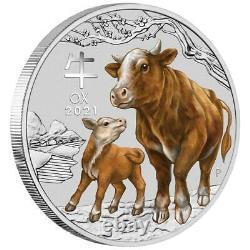 Australien 30 Dollar 2021 Jahr des Ochsen Ox (2.) Lunar III. 1 Kilo Silber ST