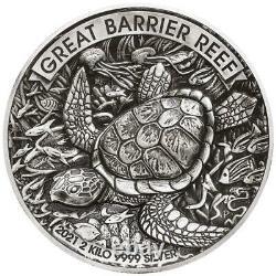 Australien 60 Dollar 2021 Great Barrier Reef High Relief 2 Kilo Silber AF