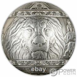 BIG FIVE LION Spherical 1 Kg Kilo Silver Coin 1000 Francs Djibouti 2021