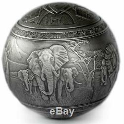 BIG FIVE OF AFRICA 2019 1000 Francs 1 Kilo Pure Silver Spherical Coin Djibouti