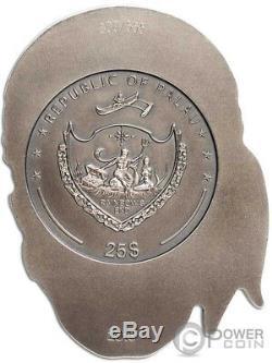 BIG PIRATE SKULL Shape 1/2 Kilo Silver Coin 25$ Palau 2018
