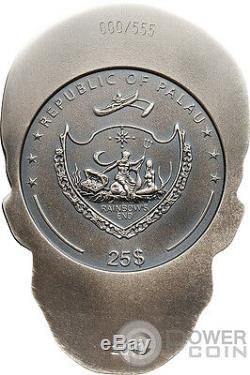 BIG SKULL Shape 1/2 Kilo Silver Coin 25$ Palau 2017