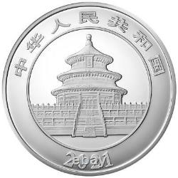 China 300 Yuan 2021 Panda im Etui 1 Kilo Silber PP