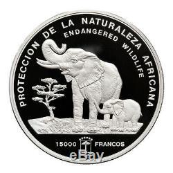 Equatorial Guinea 1992 Silver Kilo Elephant