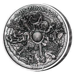 GREEK CHTHONIC GODS 1kilo Silver Coin Antiqued Samoa 2017