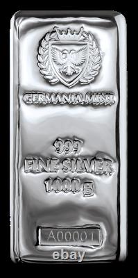 Germania Mint 1 Kilo 999 Fein Silberbarren Silver cast bar