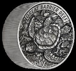 Great Barrier Reef 2021 2 Kilo 9999 Silver Antiqued High Relief $60 Coin 200-mtg