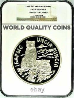 Kazakhstan 2009 Silver Coin 5000 Tenge 1 kilo kg Snow Leopard NGC PF66
