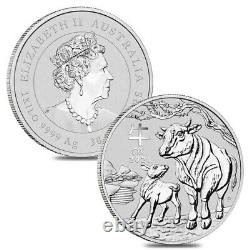 Lot of 2 2021 1 Kilo Silver Lunar Year of The Ox BU Australian Perth Mint In