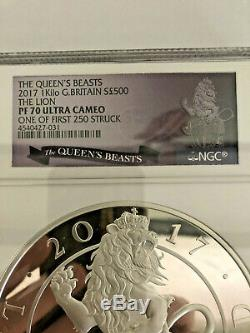 NGC PF 70 The Lion of England UK Silver Proof One Kilo Coin The Queen's Beasts