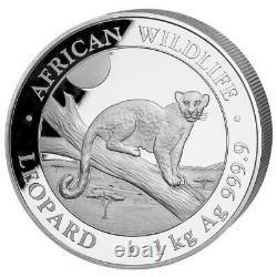 Somalia 2.000 SH. 2021 Leopard African Wildlife 1 Kilo Silber ST