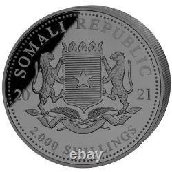 Somalia 2.000 SH. 2021 Leopard Black Premium Edition 1 Kilo Silber ST