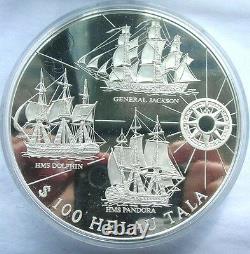 Tokelau 1996 Warships H. M. S. Dolphin 100 Tala 1Kilo Silver Coin, Proof
