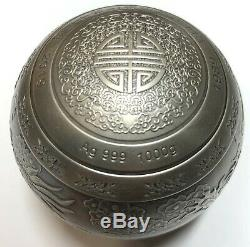 1 Kilo 30e Anniversaire Du Dragon Et Phoenix Silver Coin Sphère / Boule 1000 Grammes Nouveau