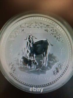 1 Kilo D'argent 2003 Année Lunaire De Chèvre. Monnaie Australienne