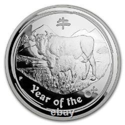 1 Kilo KG 2009 Perth Lunar Ox Silver Coin Proof Coa 173 Sur 203 Fabriqués