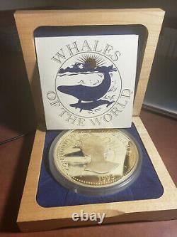 1993 Baleines Du Monde. 999 Amende Argent Kilo Pièce Bahamas Avec Boîte Et Coa