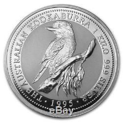 1995 P Australie 30 Dollars Km # 271 999 Fin Argent 1 Kilo Kookaburra Coin Bu