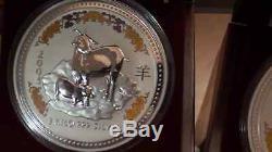 1999-2010 Australie Lunar I 12 Pièces 1kilo 999 Pierres Précieuses Argent $ 30 Rare