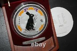 1999 Australie Lunar I Rabbit 1kilo Diamond Eye 999silver Pièce De Collection $30rare