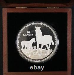 1999 Malawi Proof Silver 50 Kwacha Zebra 1/2 Kilo Pièce D'argent Avec Coa Et Case