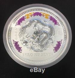 2000 Australie 1 Kilo Silver Dragon (diamond Eyes) Boîte Originale