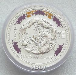 2000 Australie Lunaire Du Dragon $ 30 Thirty Silver Dollar Kilo Coin Box Coa