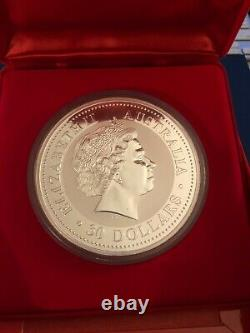 2000 Australie Lunar Dragon $30 Thirty Dollar Silver Kilo Coin Box