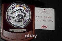 2000 Australie Lunar I Dragon 1kilo Diamond Eye 999silver Pièce De Collection $30rare