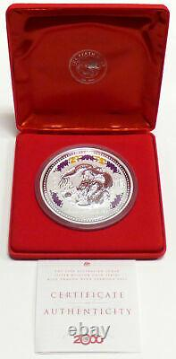 2000p Australie Silver Kilo Year Of The Dragon Colorized With Diamond Eyes #1888