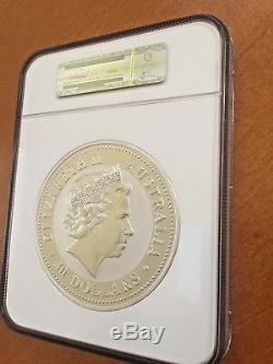 2001 Australie 30 $ 1 Kilo Argent Snake Diamond Eyes Ngc Ms 69