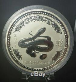 2001 Mint Lunar Series Perth I. 999 Kilo Argent Année Du Serpent Coin Bu