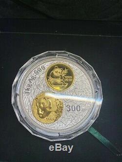 2002 20e Anniversaire De La Pièce D'argent De Kilo De Série De Pièces D'or Panda Chinois