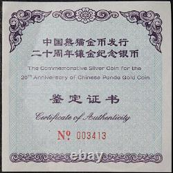 2002 20ème Anniversaire Panda Chinois Panda Porde 1 Kilo Preuve Silver Ogp Coa