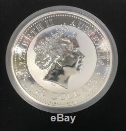 2002 Australian Lunaire Du Zodiaque Chinois. 999 Silver Coin Année Du Cheval 1 Kilo