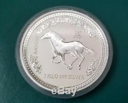 2002 Kilo Argent Australian Lunar Cheval Series Coin One
