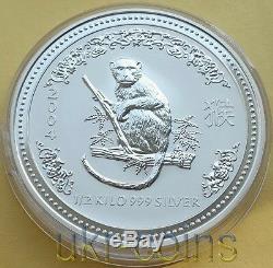2004 Australie Lunar I Année Du Singe 1/2 Kilo KG Silver Coin 15 $ Perth Mint