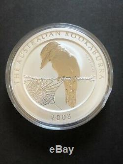 2008 1 Kilo (32,15 Oz) Kookaburra. 999 Pièce En Argent Fin Belle Capsule