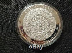 2008 Calendrier Aztèque 0,999 Argent Kilo B. U. $ 100 Coin Capsule En Plastique Prooflike