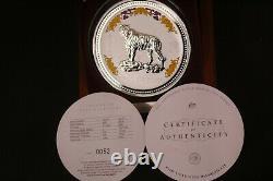 2010/07 Australie Lunar I Tiger 1kilo Diamond 999 Pièce De Collection Argent $30rare