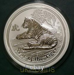 2010 Australie Lunar II Année Du Tigre $15 Dollar Perth 1/2 Kilo Argent Pièce