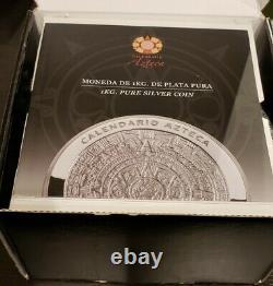 2010 Mo Mexique 32.15 Oz 1 Kilo 100 $ Aztec Calendrier Coin Avec Boîte Et Coa