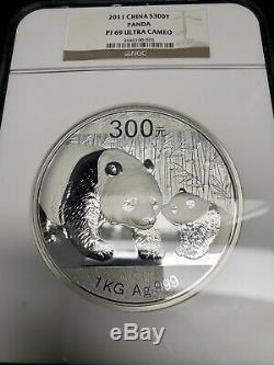 2012 1 Kilo Chine Argent S300y Panda 1 KG Pièce Ngc Pf69 Ultra Cameo Avec Coa Rare