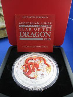 2012 Australian Lunar Series II Année Du Dragon 1 Kilo Argent Gemstone Coin