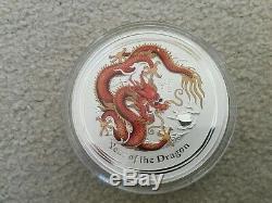 2012 Australie Année Lunaire Du Dragon 1 Kilo KG D'argent Colorisation Coin